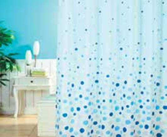 תמונה של וילון אמבטיה  בועות כחול במבחר גדלים