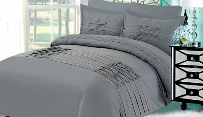 תמונה של מערכת קיץ ריאקטיב - סאטן אל קמט  מיטה זוגית 6 חלקים   LORD RM1609-אפור