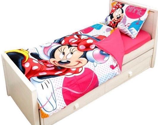 תמונה של מצעים למיטת יחיד דגם מיני מאוס מבד סאטן אל קמט