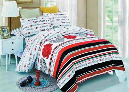 תמונה של סט ביוטי 100% כותנה מיטה וחצי 3 חלקים  | LOVE